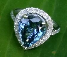 6 Ct. Tanzanite & Diamond 14k White Gold Ring $6,500 GIA Cert #2227374463 Size 7