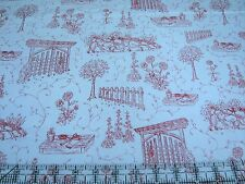 3 Yards Quilt Cotton Fabric- Henry Glass Park Drive Garden Toile Scene Red White