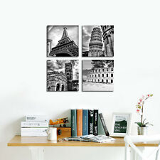 Modern Canvas Print Painting Wall Home Art World Attractions Black White Framed