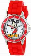 Disney Kids Time Teacher Mickey Mouse Watch w/ Red Rubber Strap Colorful Gift