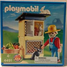 Playmobil 4491 Farmer, Rabbit Hutch / Cages, Rabbits and Vegetables - NEW