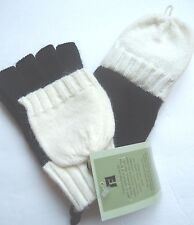 Ladies Fownes Women's Convertible Mittens,Black/White, O/S