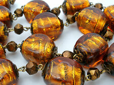Root Beer Gold Foil Art Glass Bead Necklace Vintage Beaded Jewelry Fashion