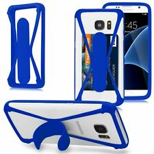 Silicone Card Pocket Holder Case w/ Kickstand Bumper Case Cover For Cell Phone