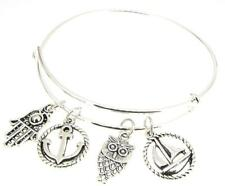 Hamsa Bracelet Silver Plate Expandable Bangle Sailboat Anchor  Owl