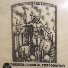 Tile Coaster ART DECO 1982 VTG LAMMONT DUPONT Safety Award VELSICOL CHEMICAL
