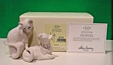 LENOX SWEET DEVOTION jeweled Two CAT Sculpture set NEW in BOX with COA Kitten