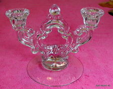 "Cambridge (Rose Point - Clear) 5 1/2"" DOUBLE LIGHT CANDLESTICK  Exc"