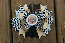 New Orleans Saints Layered Bottle Cap Hair Bow with Double Prong Clip