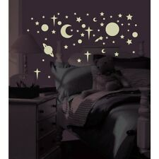 New GLOW IN THE DARK CELESTIAL STARS & PLANETS 258 WALL DECALS Kids Room Decor