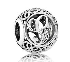 New Authentic Pandora Charm 791851CZ Vintage Letter G Clear CZ Box Included