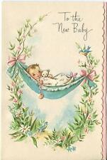 VINTAGE NEW BABY GARDEN FLOWER HAMMOCK RATTLE TEDDY BEAR GREETING ART CARD PRINT