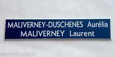 plaque boite aux lettres porte 2 lignes personnalisée bleu foncé ft 20x100 mm