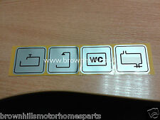 HYMER MOTORHOME & CARAVAN SILVER DECAL LABEL WATER, SHOWER, SINK ETC