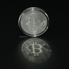 Bitcoin 1oz .999 Silver Plated Collectible Coin BTC