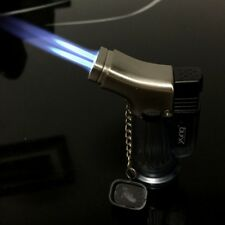 Double Jet Metal Windproof Torch Gas Lighter Flame  For Cigar Cigarette