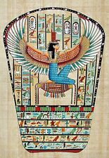 Egyptian Handpainted Papyrus Art: Winged Isis Seated on Gold: King Tut's Tomb