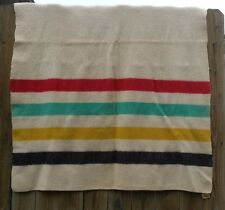 Antique Vintage Faribo like Hudsons Bay Blanket Striped Camp Cream Wool 54 x 70