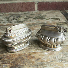 Vintage~Antique~Ronson Queen Anne and Crown Lighters~Silver Plated~Heavy~Ornate