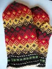 Latvian hand knitted 100% wool mittens,yellow/red/brown/green (size L)