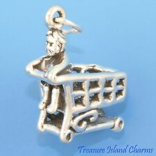 CHILD ON GROCERY STORE SHOPPING CART 3D .925 Sterling Silver Charm CHILDHOOD