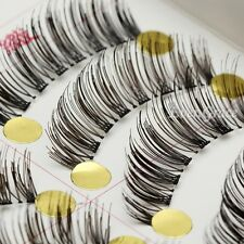 10Pairs Long Cross False Eyelashes Makeup Natural Fake Thick Black Eye Lashes