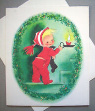 Not used Boy going up stairs in drop seat PJs CHRISTMAS VINTAGE GREETING CARD *Q