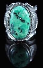 Navajo Sterling Silver Natural Nevada Green Pixie Turquoise Ring By Andy Cadman