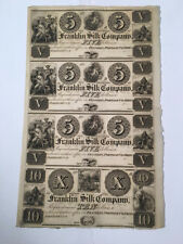 US Obsolete Currency Uncirculated / Uncut Sheet of 4 - Franklin Silk, $5 & $10*