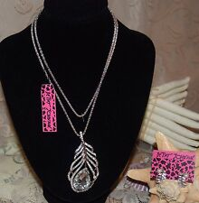 BETSEY JOHNSON GORGEOUS 2 PC SET CRYSTAL FEATHER NECKLACE, MATCHING EARRINGS