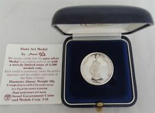 ISRAEL 1988 FLOWERS by MANE KATZ STATE MEDAL 26mm 10g PURE SILVER + BOX + COA