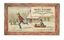 Old Trade Card Friel & Hand Furniture Carpets New York Man Pulling Child On Sled