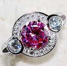 3CT Pink Sapphire & White Topaz 925 Solid Sterling Silver Ring Sz 6