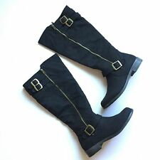 NEW! Size 10 Boots Black Wide Calf Knee High Moto Riding Tall Free Shipping!