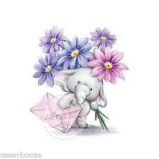 Wild Rose Studio - Clear Rubber Stamps - Bella With Flowers - Elephant - 226