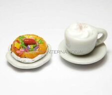 Dollhouse Miniature Cup of Coffee with Pizza on Plate* Doll Mini Food Drink Dish