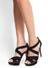 Mango Black Sandals Jimmy C Strappy Crossover Platform High Heel Size 6