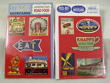 AMERICAN ROAD FOOD Retro Fun Stickers & Notecard Drive-in Hot Dogs Chili Texas