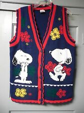 "Womens Size S Snoopy & Friends Peanuts ""Ugly"" Cardigan Sweater Vest"