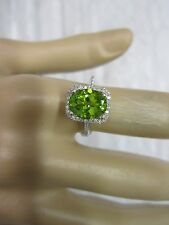 STUNNING 14 KT GOLD 2.59 CTW PERIDOT AND DIAMOND RING !!!!!!!!!!