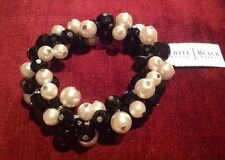 White House Black Market Beaded Crystal And Faux Pearl Stretch Bracelet-$34-NWT!