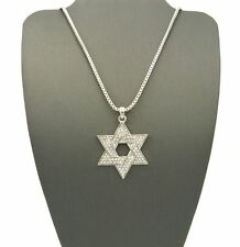 "ICED OUT SILVER SIX POINTS STAR OF DAVID PENDANT w/ 24"" BOX CHAIN NECKLACE KS011"