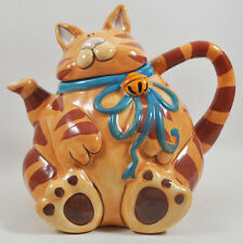 Cat Teapot Tea Pot Kitchen Hand Painted Collectable Blue Sky Antique H23cm 12111