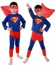 Superman Small Costume Fancy Dress Suit & Eye Mask for Kids (3-5 yr) Gift Cloth