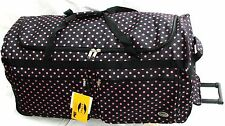 "36"" 70LB.CAP.BLACK W PINK POLKA DOTS ROLLING WHEELED DUFFLE BAG/SUITCASE/LUGGAGE"