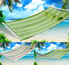 Heavy duty Cotton Double Space Hammock Sleeping Bed Swing Hang With Hook Pillow