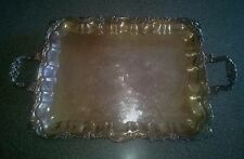 "Vintage Sheridan Silver-plated Footed Serving Tray/Platter with Handles 20""X 16"""