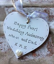 personalised handmade pearl/30th wedding anniversary wooden heart gift/present