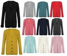women's ladies aran chunky cable knitted granddad 5 buttons cardigan PLUS SIZE