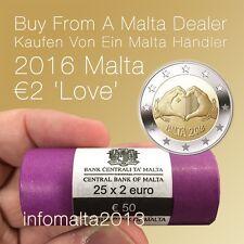 2016 Malta LOVE Original Sichtrolle 25 x 2 Euro Münzrolle Gedenkmünze UNC